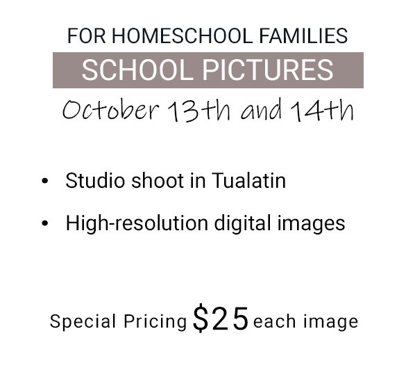 School Pictures for homeschooling families. Photography by Rayleigh in Portland, OR